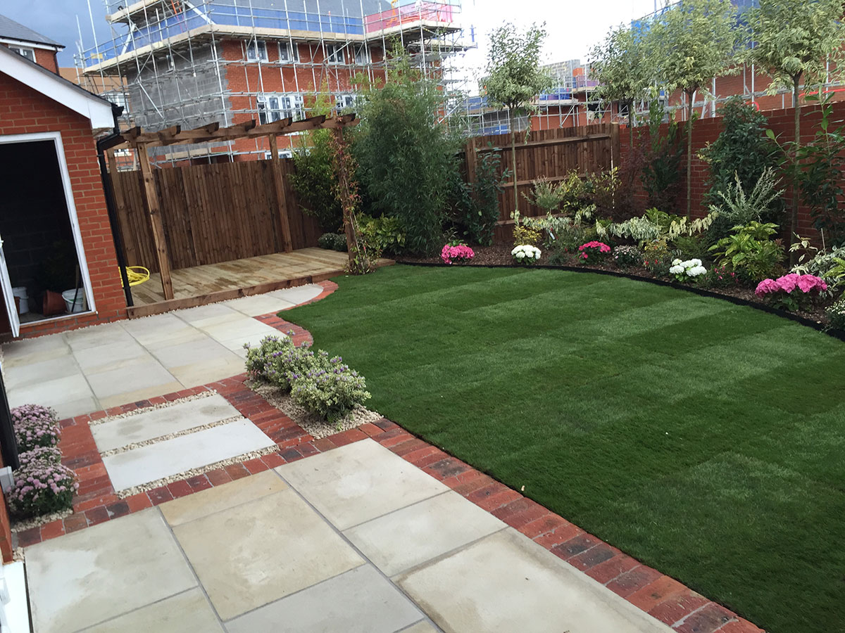 Soft and hard landscaping for show homes
