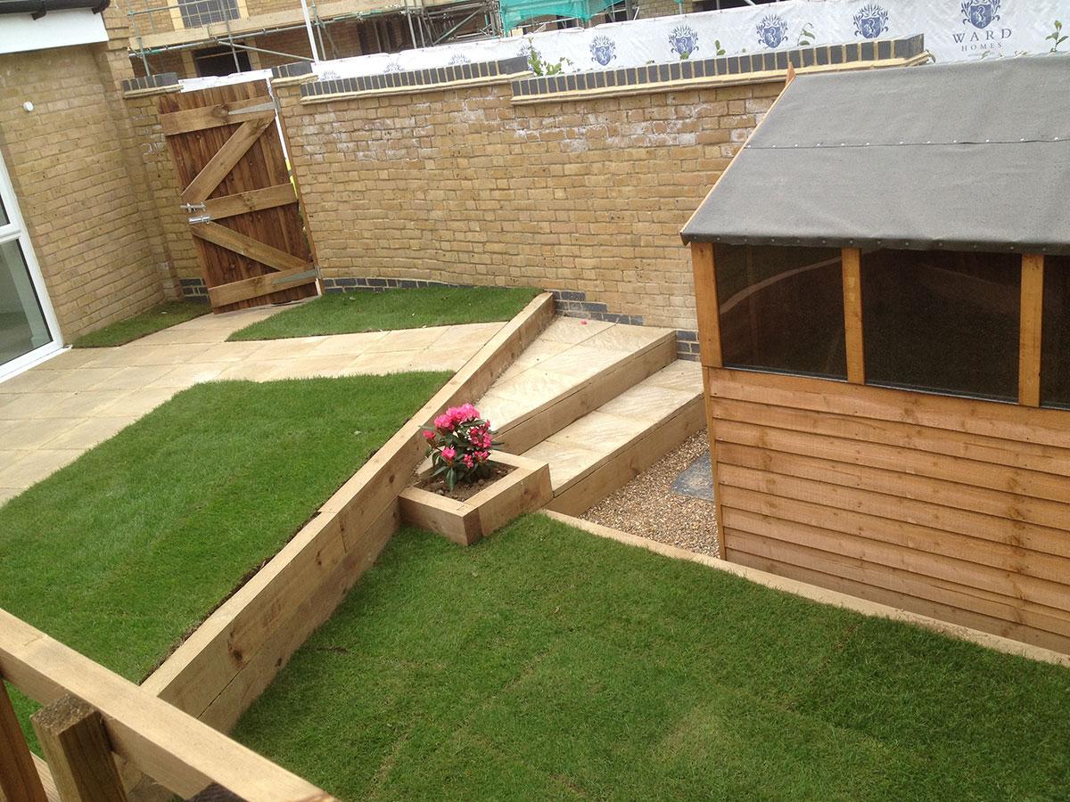 Multi level back garden using retaining